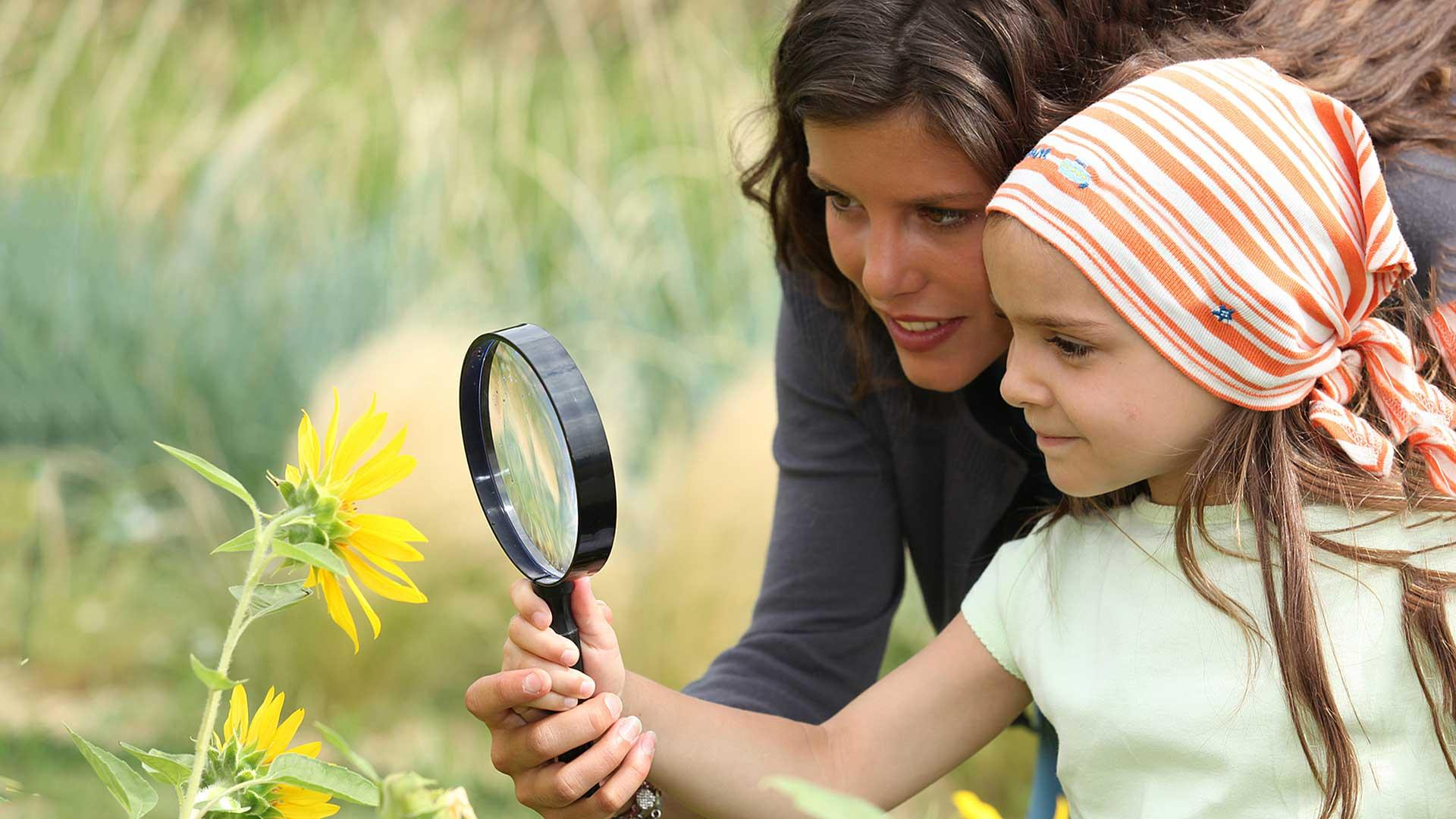 Mother and daughter using microscope on flower