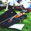 Violin in a case on the grass